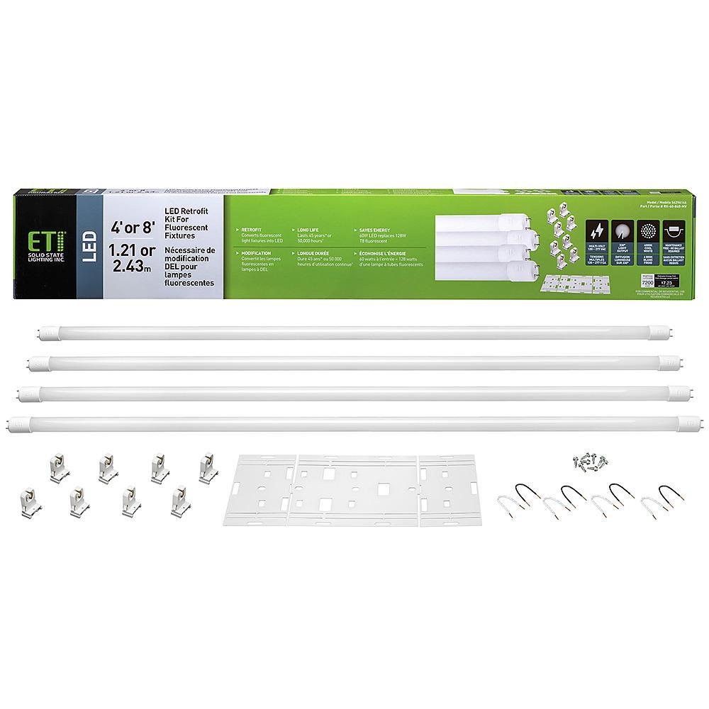 ETi 4000K Bright White LED Tubes 60-Watt (150-Watt Equivalent) Retrofit Kit Replaces 8 ft T8 or T12 Linear Florescent Tubes
