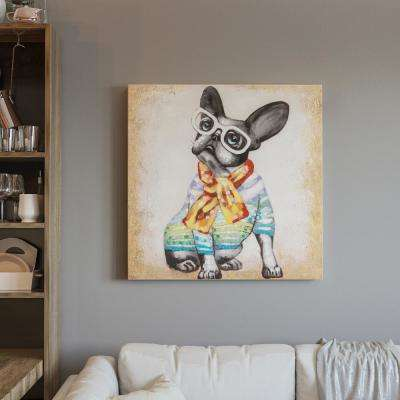 """32 in. x 32 in. """" Hip Frenchie"""" Hand Painted Canvas Wall Art"""