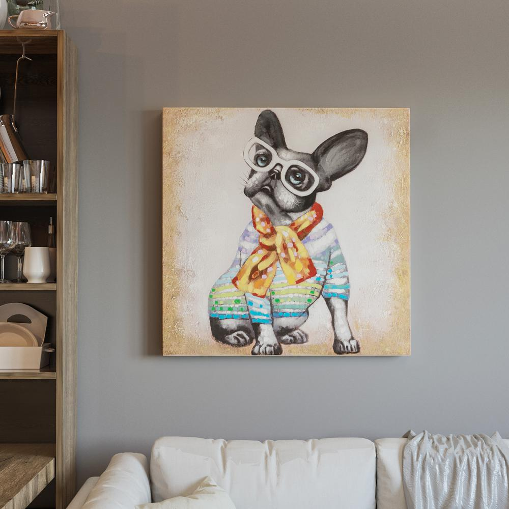 Yosemite home decor 32 in x 32 in hip frenchie hand for Hip home decor