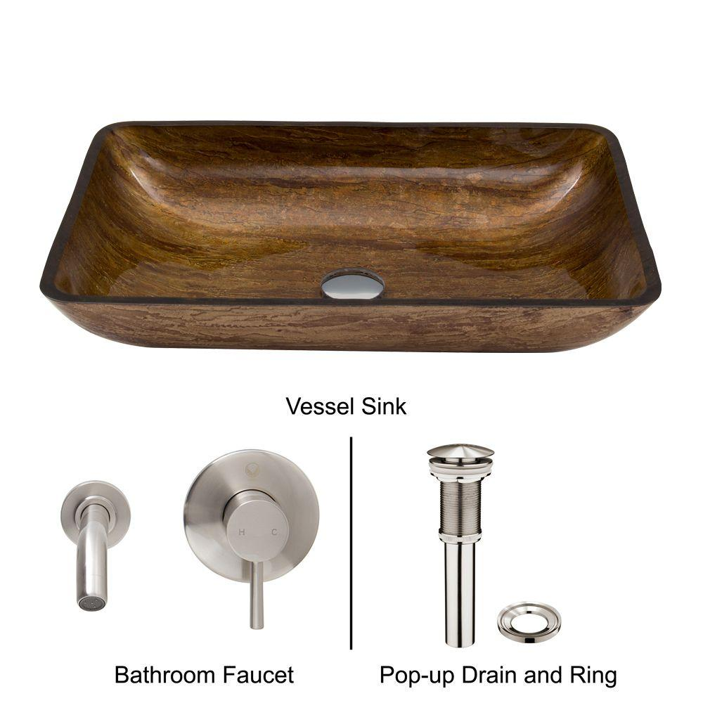 Rectangular Glass Vessel Sink in Amber Sunset with Wall-Mount Faucet Set