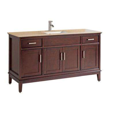Sohar 60 in. W x 22 in. D x 36 in. H Bath Vanity in Tobacco with Quartz Vanity Top in Yellow/Gold with White Basin