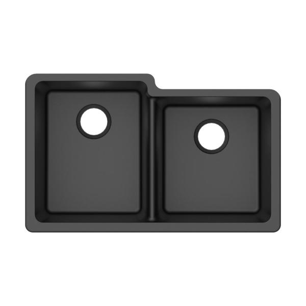 Winpro Undermount Granite Composite 33 In L 40 60 Offset Double Bowl Kitchen Sink In Black Wgdbl304 The Home Depot