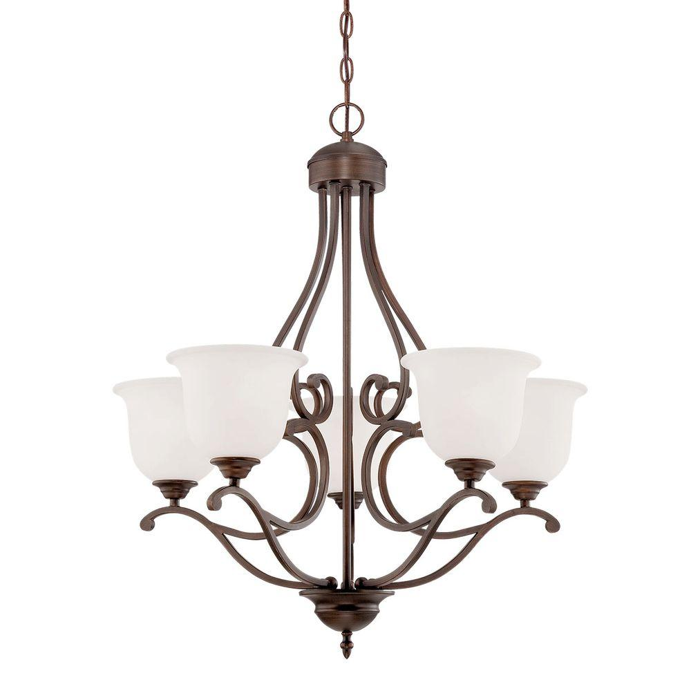 Millennium Lighting 5 Light Rubbed Bronze Chandelier With Etched White Gl