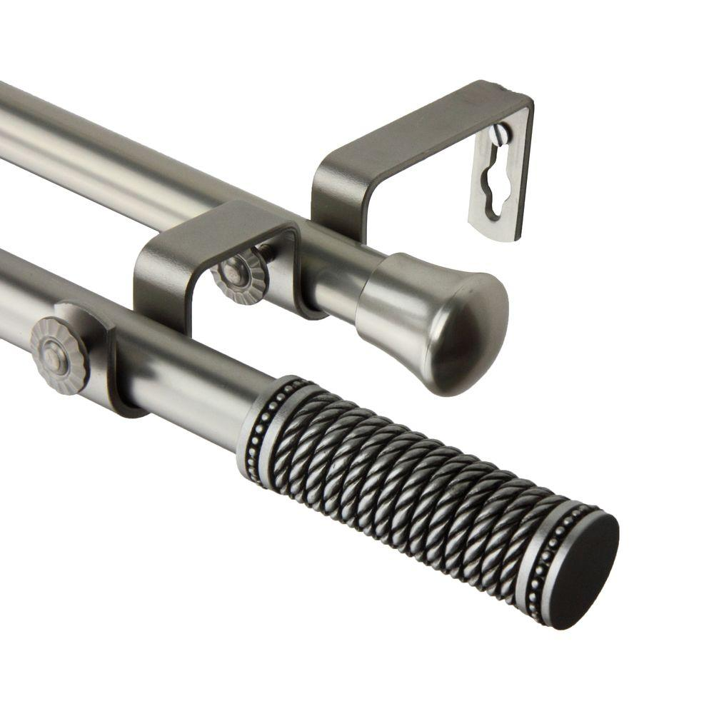 Charming Rod Desyne 120 In.   170 In. Threaded Double Curtain Rod In Satin Nickel