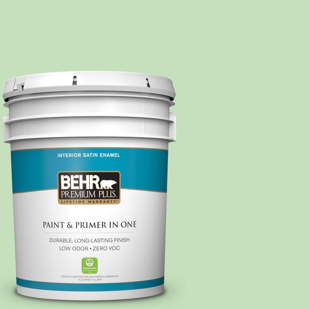 BEHR Premium Plus 5 gal. #440C-3 Rockwood Jade Satin Enamel Zero VOC Interior Paint and Primer in One