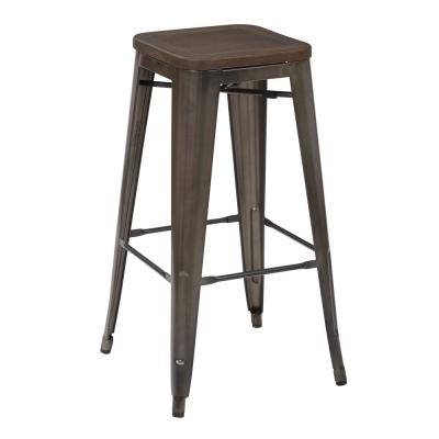 Indio 30 in. Matte Gunmetal Stool with Ash Walnut Seat (4-Pack)