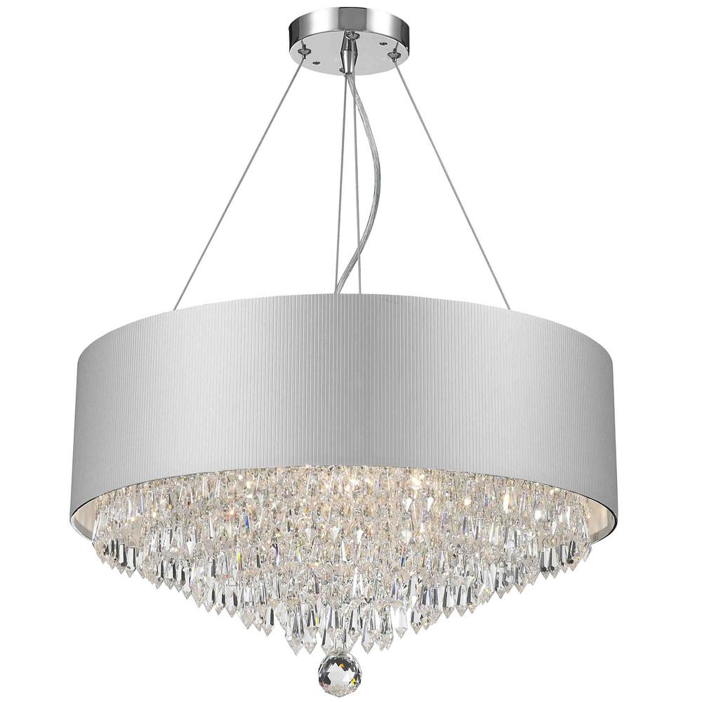 Worldwide Lighting Gatsby 8 Light Chrome And Clear Crystal Chandelier With White Acrylic Drum Shade