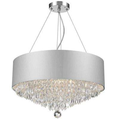 Gatsby 8-Light Chrome and Clear Crystal Chandelier with White Acrylic Drum Shade