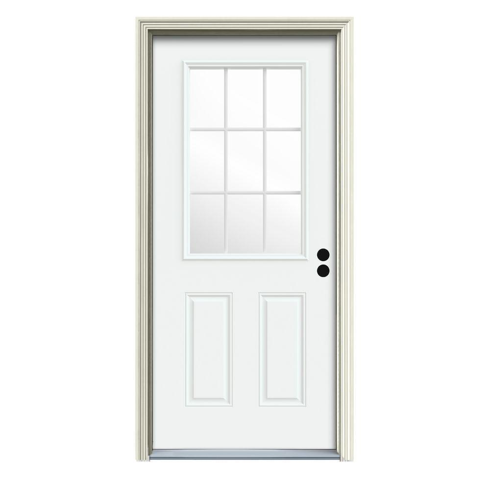32 in. x 80 in. 9 Lite White Painted Steel Prehung