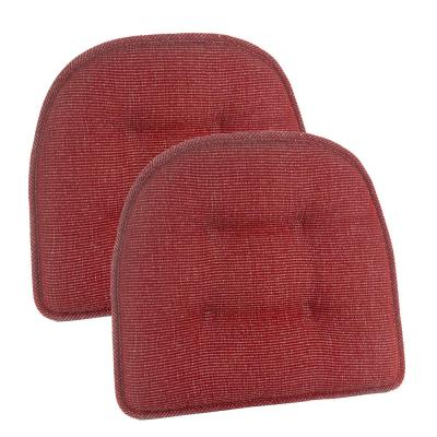 Gripper Non-Slip 15 in. x 16 in. Saturn Red Tufted Chair Cushions (Set of 2)