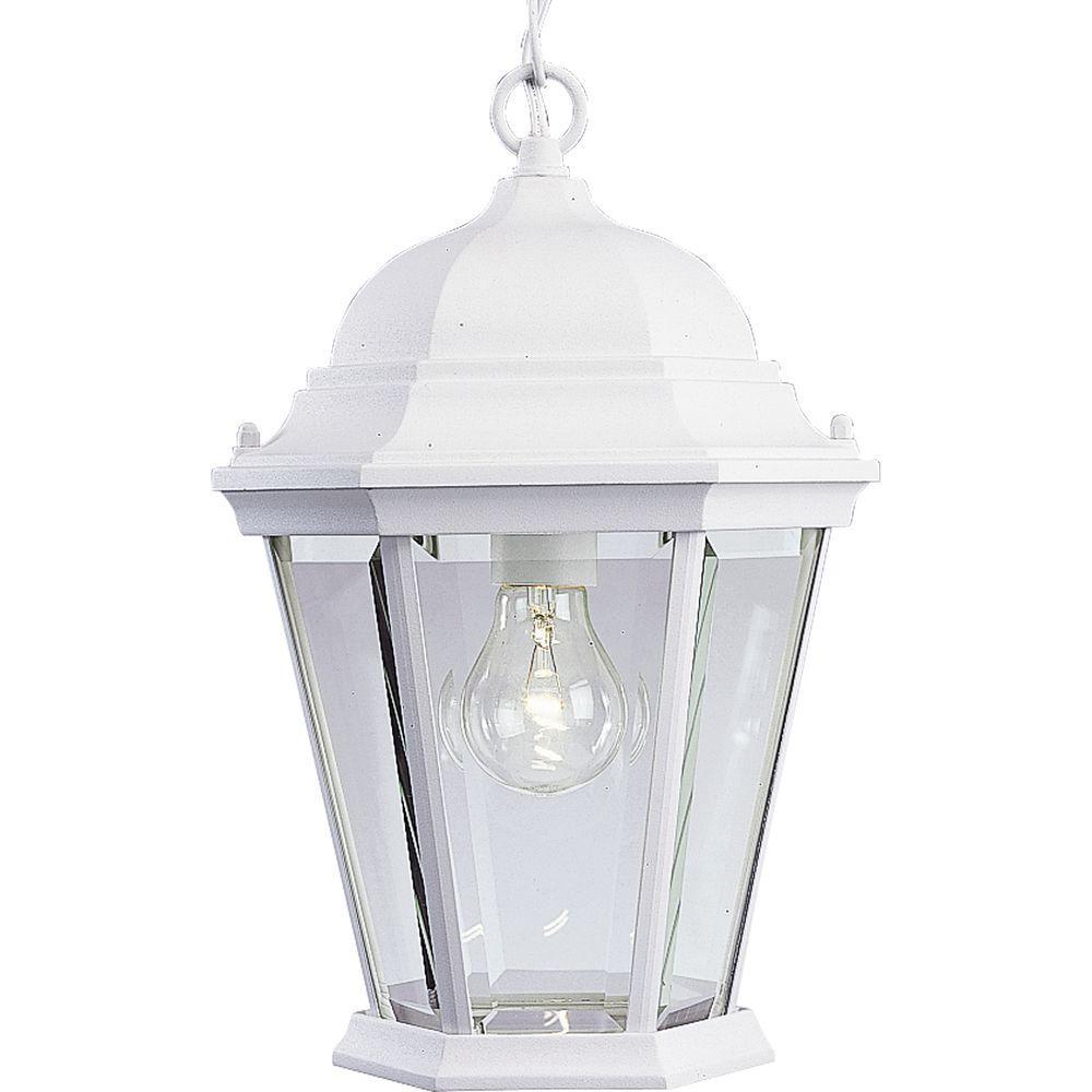 Progress Lighting Welbourne Collection Textured White Outdoor Hanging Lantern