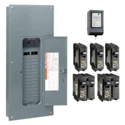 Homeline 150 Amp 30-Space 60-Circuit Indoor Main Breaker Plug-On Neutral Load Center with Cover, Surge SPD - Value Pack