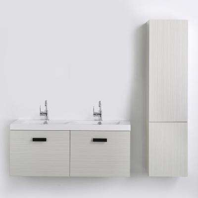 47.2 in. W x 18.2 in. H Bath Vanity in Gray with Resin Vanity Top in White with White Basin