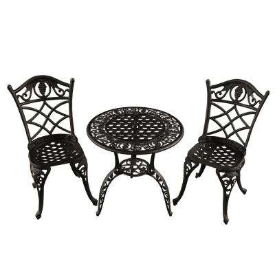Grape Vineyard 3-Piece Aluminum Outdoor Patio Garden Bistro Set in Sand Black