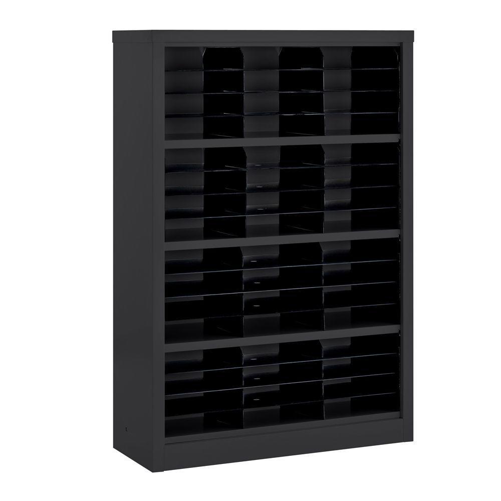 Sandusky 52 in. H x 34.5 in. W x 13 in. D Steel Commercial Literature Organizer Shelving Unit in Black