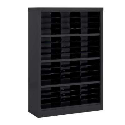 52 in. H x 34.5 in. W x 13 in. D Steel Commercial Literature Organizer Shelving Unit in Black
