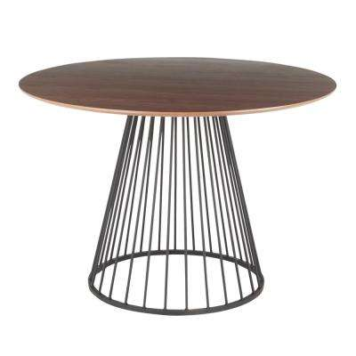 Canary Walnut and Black Round Dining Table