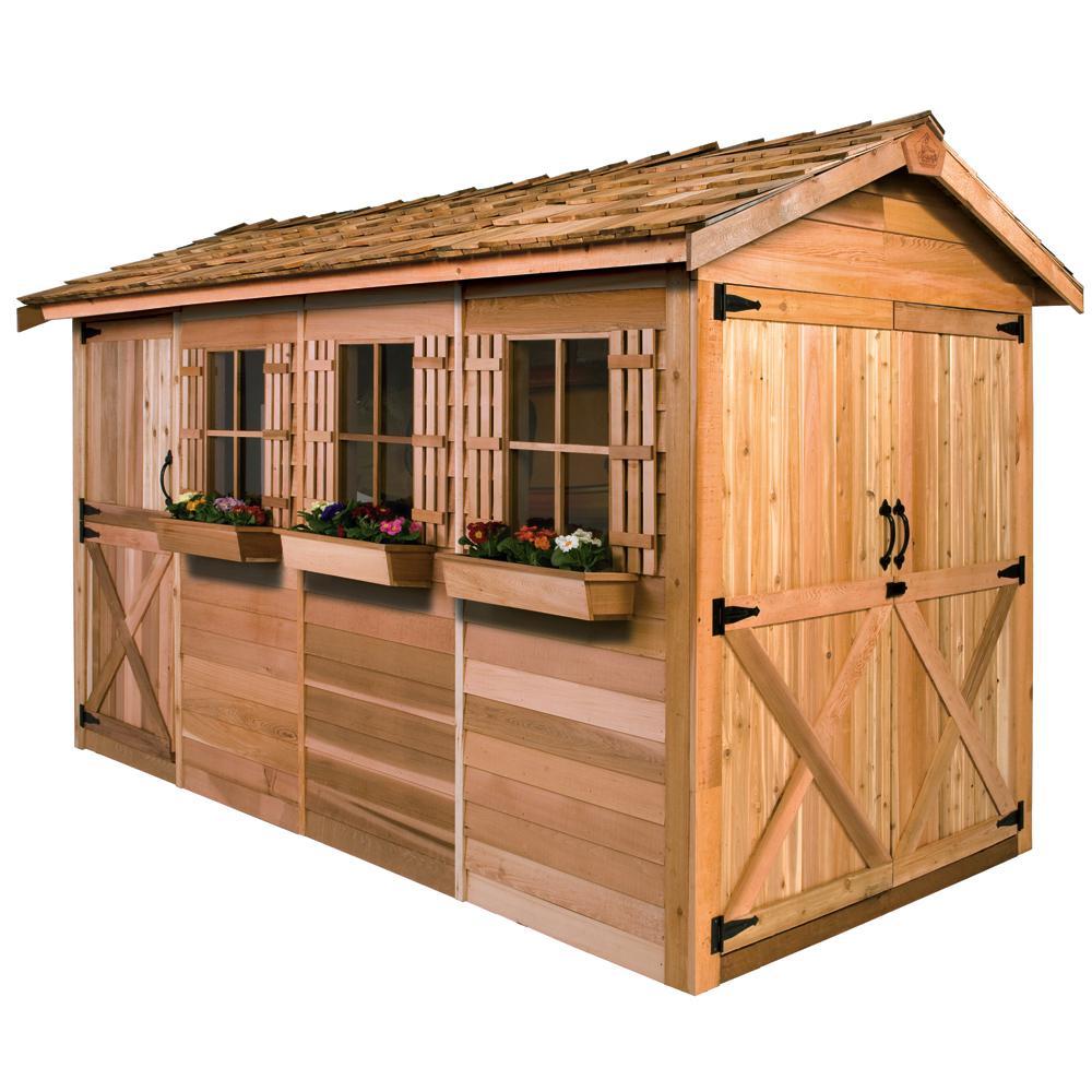 Boathouse 16 ft. x 8 ft. Western Red Cedar Garden Shed