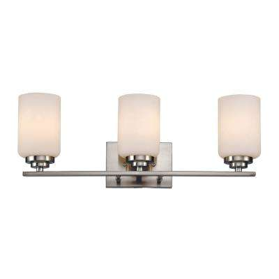 22 in. 3-Light Brushed Nickel Vanity Light with Frosted Glass Shade