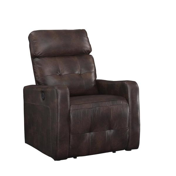 AC Pacific Elsa Collection Brown Contemporary Leather Tufted Upholstered Living