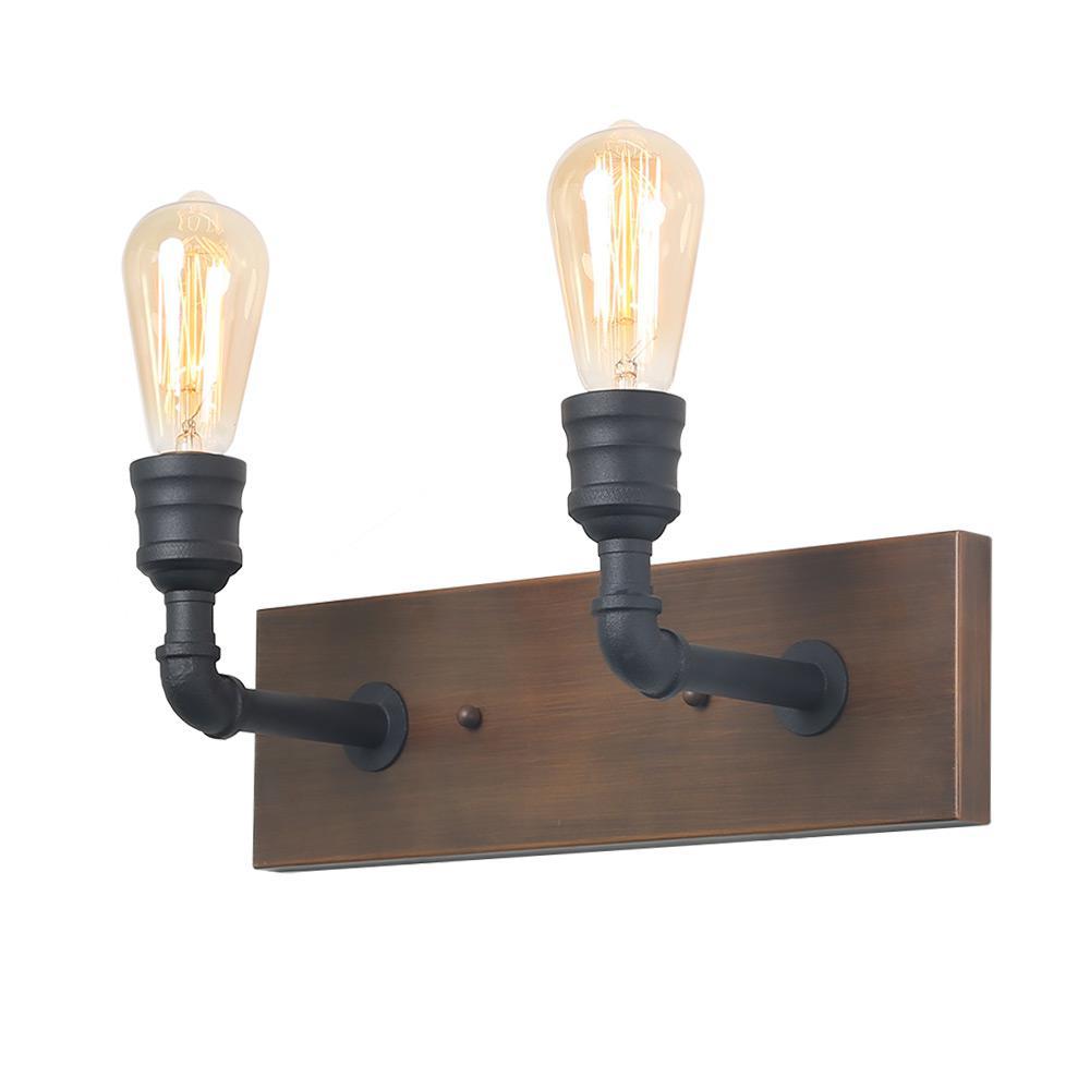 2-Light Black Bathroom Vanity Light