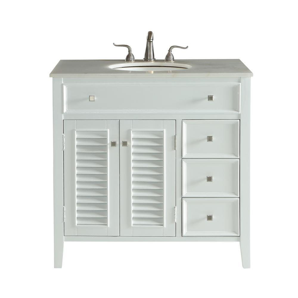 Bellaire 36 in. Single Bath Vanity w/ 3 Drawers 1 Shelf