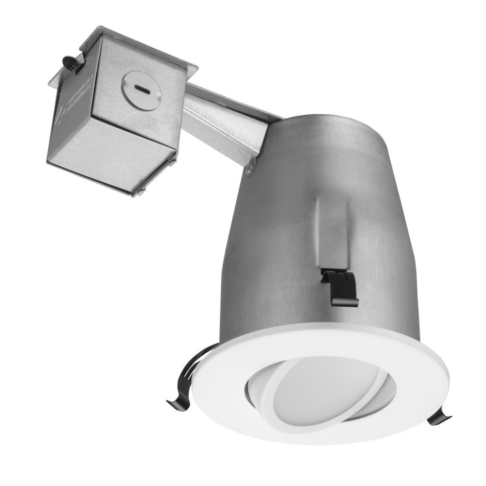 Lithonia Lighting 4 In Matte White Recessed Gimbal Integrated Led Kit