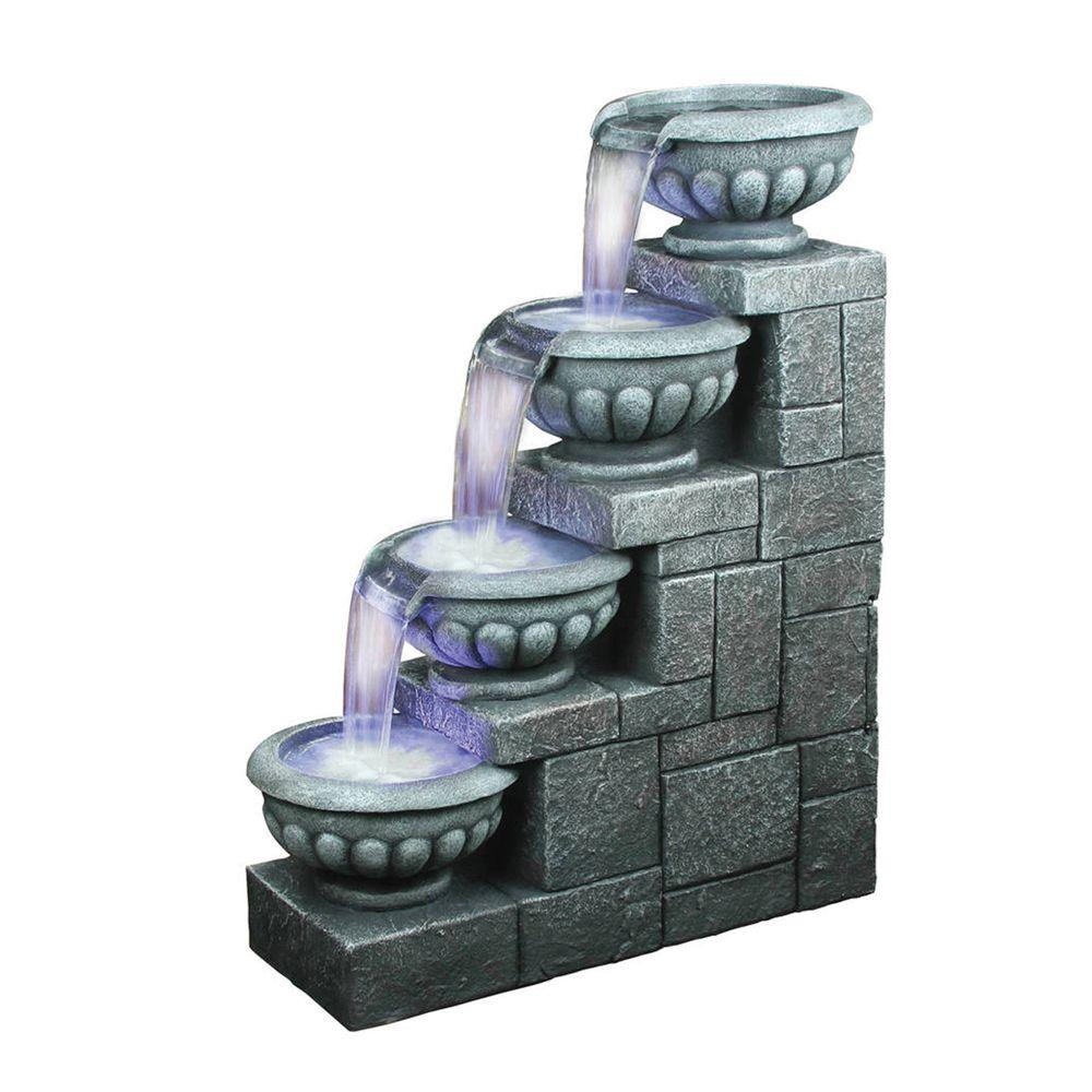 Design Toscano 29.5 in. W x 12 in. D x 36.6 in. H Four Step Bowls Fountain