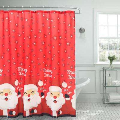 Santa Border 72 in. x 72 in. Christmas Shower Curtain