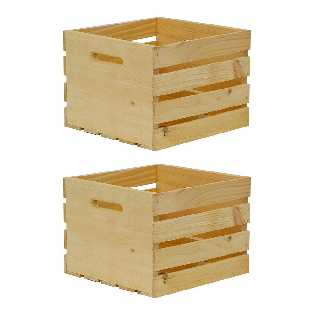 Crates & Pallet 13.5 in. x 12.5 in. x 9.625 in. Large Growler Wood Crate (2-Pack)