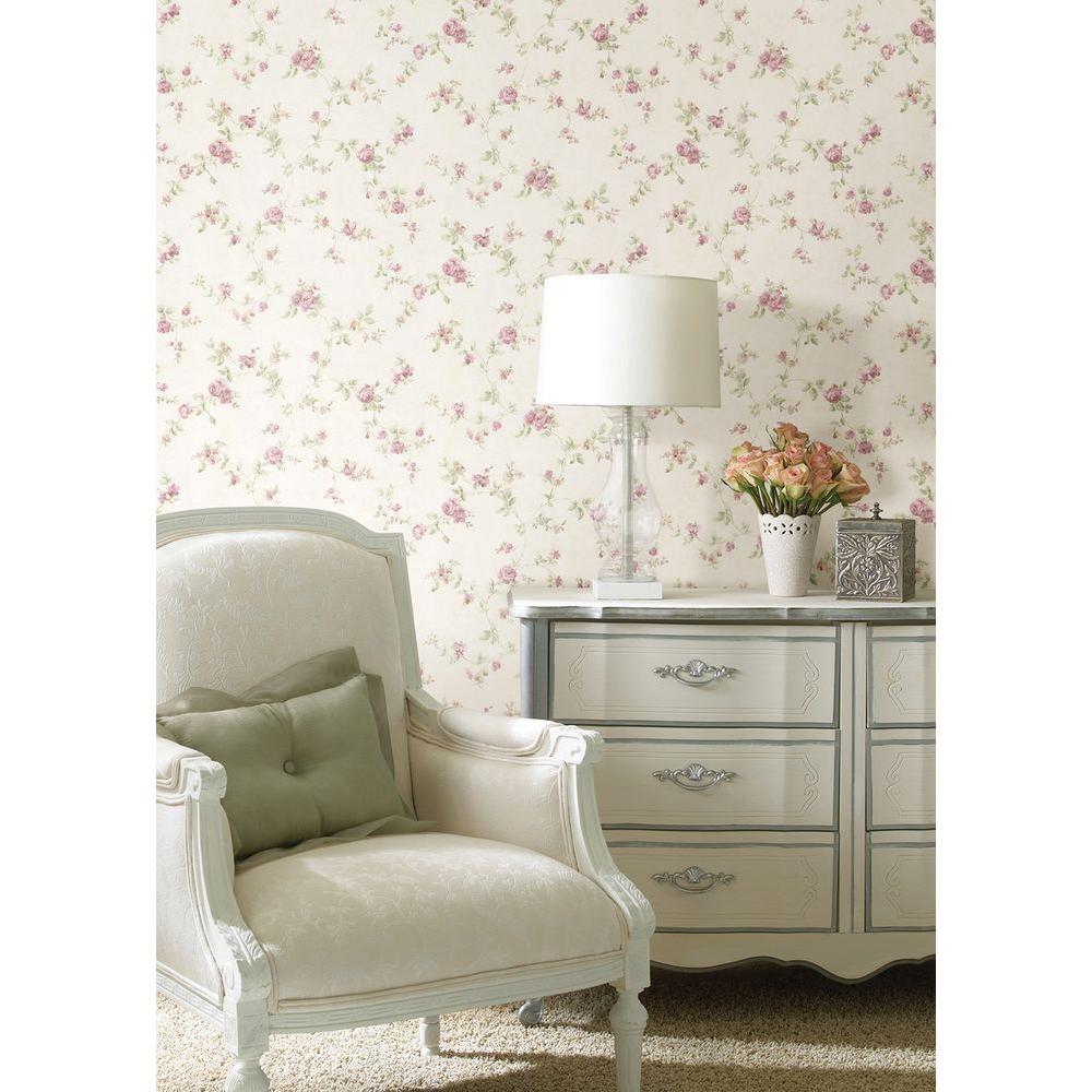 Mary Mauve Floral Vine Wallpaper