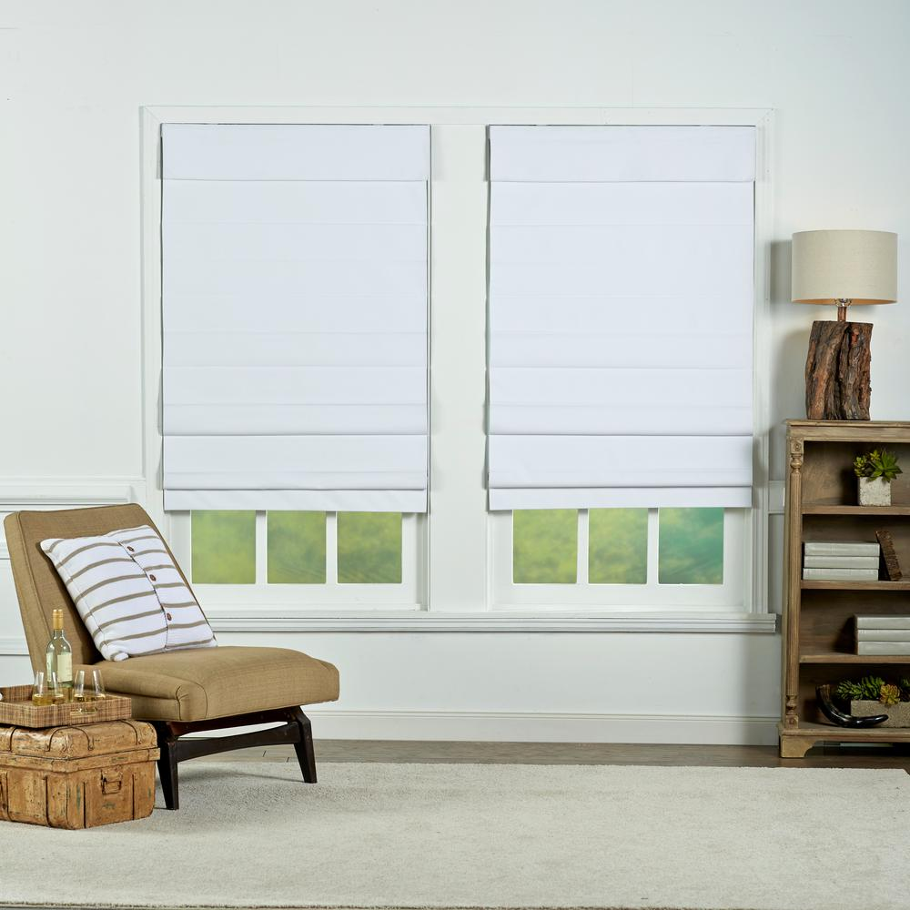 Perfect Lift Window Treatment White Insulating Cordless Cotton Roman Shade 34 In W X