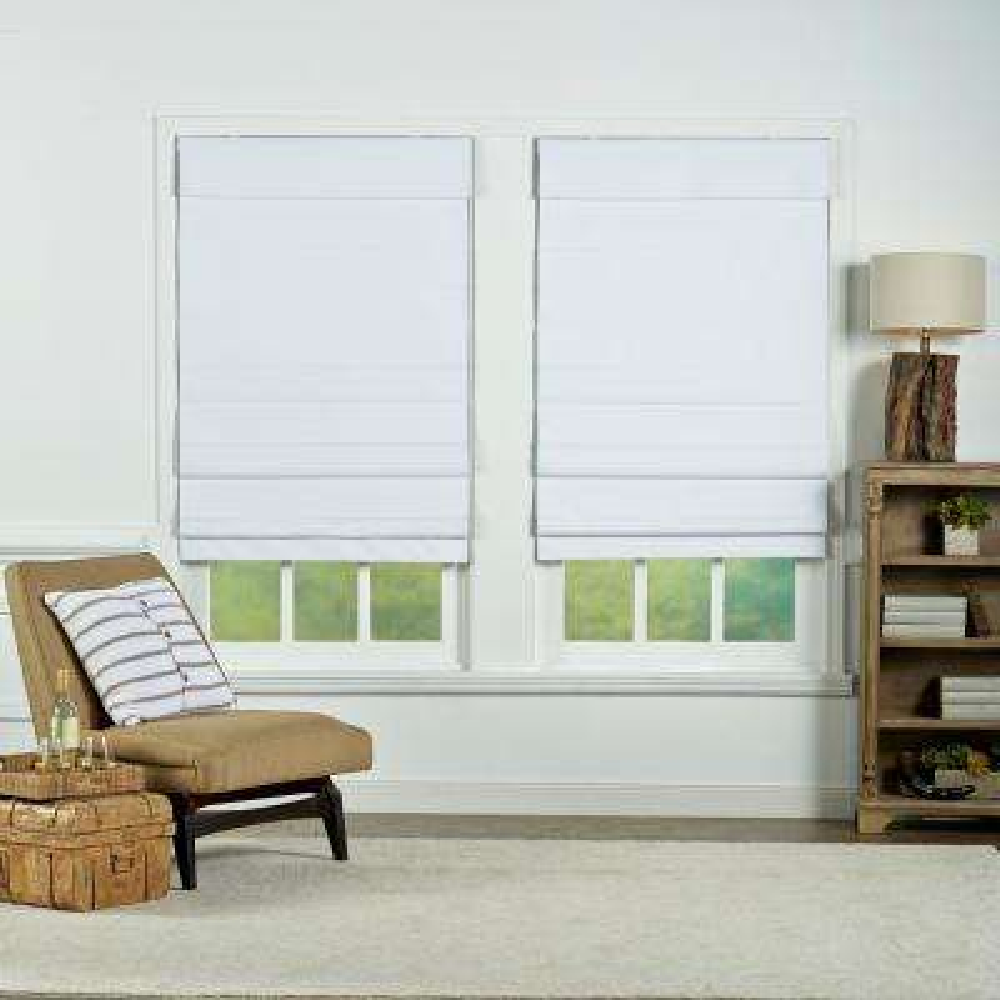 White Cordless Blackout Energy Efficient Cotton Roman Shades 35 In W X 72 L