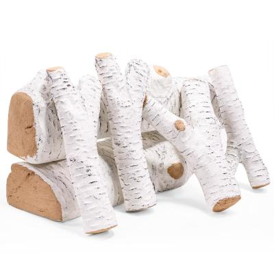 Realistic Ceramic Firewood Fireplace of Birch Wood Log Vented Insert Set (6-Piece)