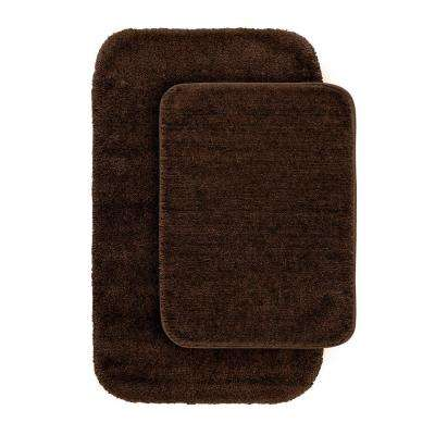 Traditional Chocolate 21 in. x 34 in. Washable Bathroom 2 -Piece Rug Set