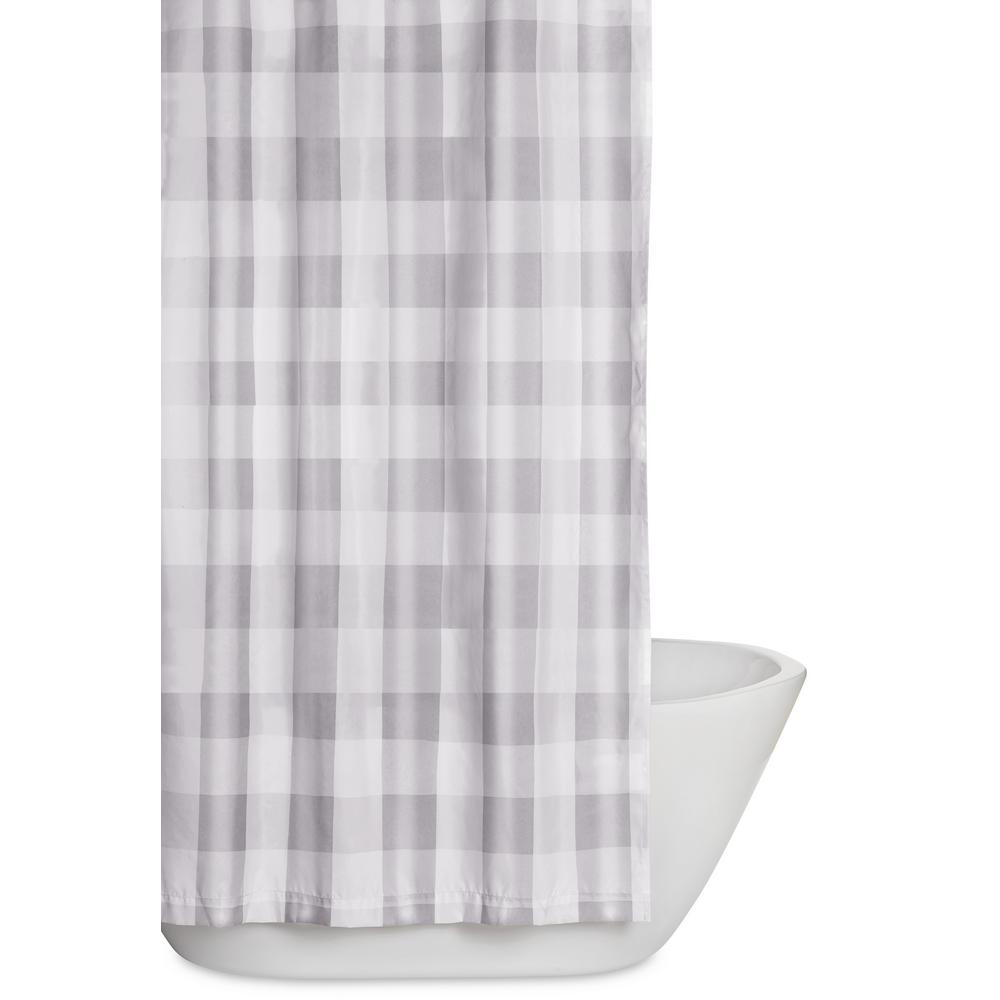 Truly Soft Everyday Buffalo Plaid Grey 72 In And White Shower Curtain