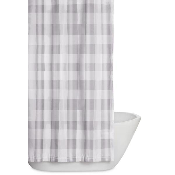 Everyday Buffalo Plaid Grey 72 in. Grey and White Shower Curtain