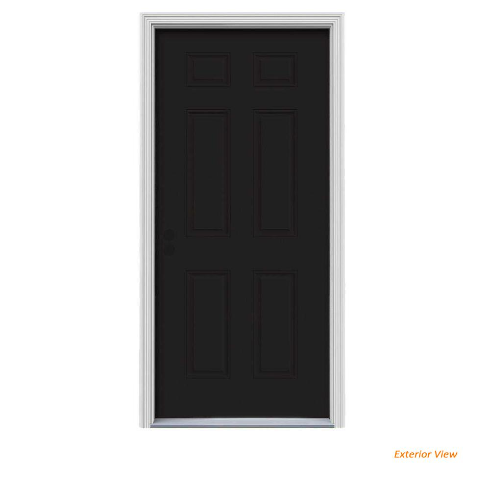 34 in. x 80 in. 6-Panel Black Painted Steel Prehung Right-Hand