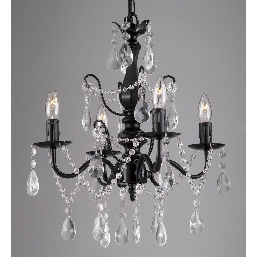 Contemporary 4-Light Black Iron and Crystal Chandelier