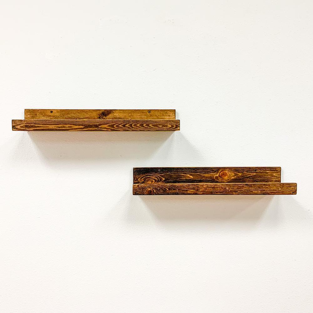 Rustic Luxe 7 in. x 24 in. Dark Walnut Pine Floating Decorative Wall Shelves