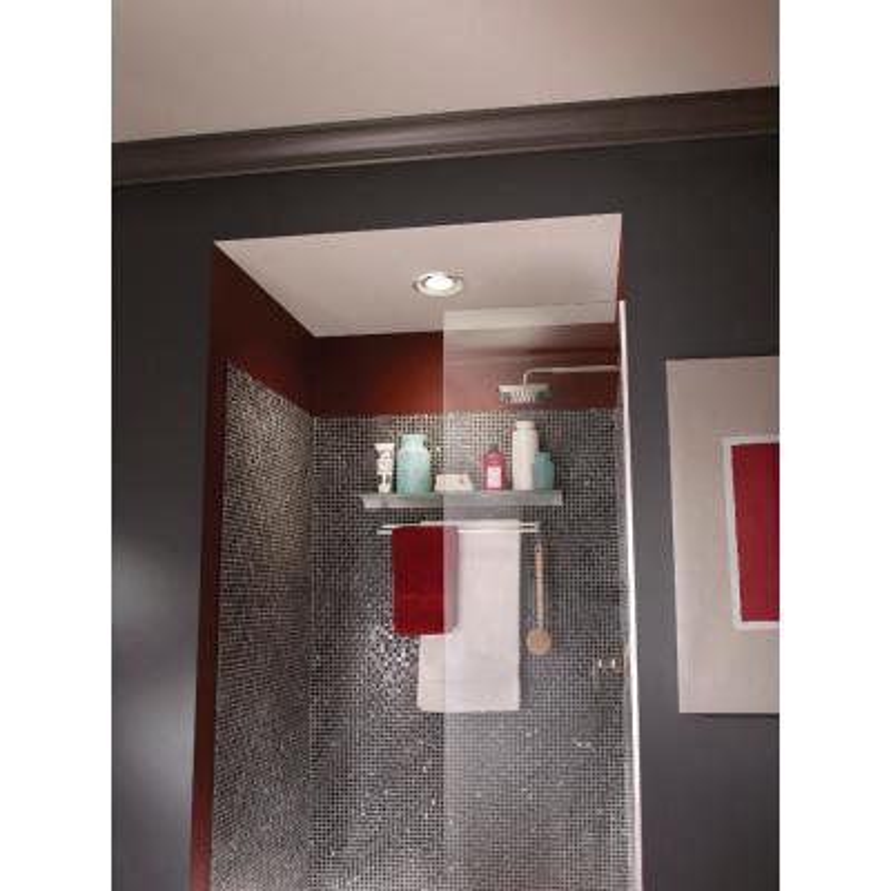 White Adjustable 50-80 CFM Ceiling Bathroom Exhaust Fan with Light Easy Change Trim Kit, ENERGY STAR