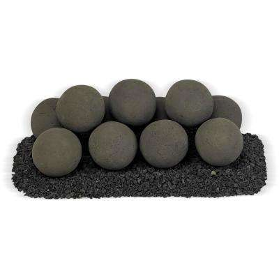18 in. x 6 in. Thunder Gray Uniform Set, 11-4 in. Lite Stone Balls with 5 lbs. Small Lava Rock