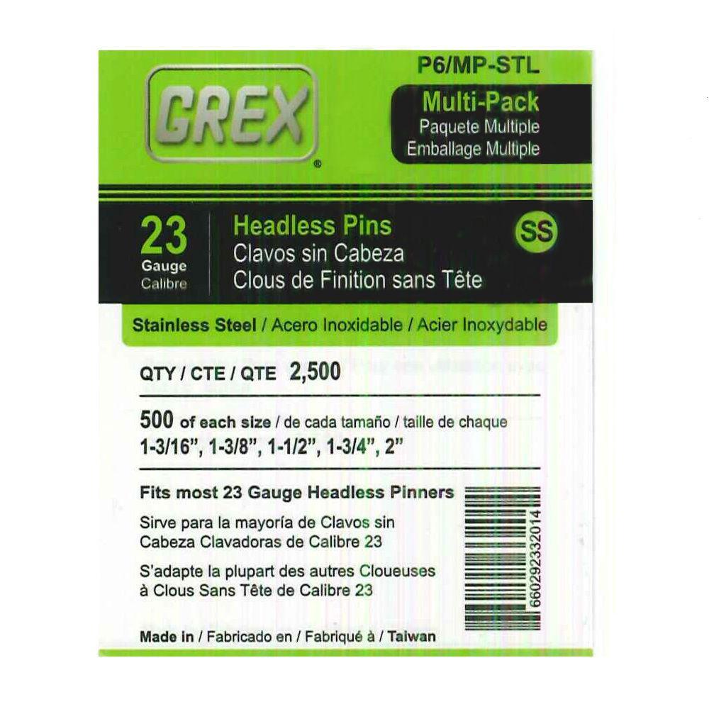 Multi (L) 23-Gauge Stainless Steel Headless Pins 2500 per Box