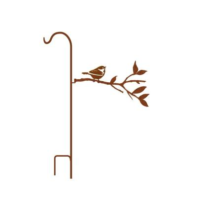 50 in. Tall Yellowish Brown Rust Steel Shepherd's Hook with Fat Chickadee on Branch