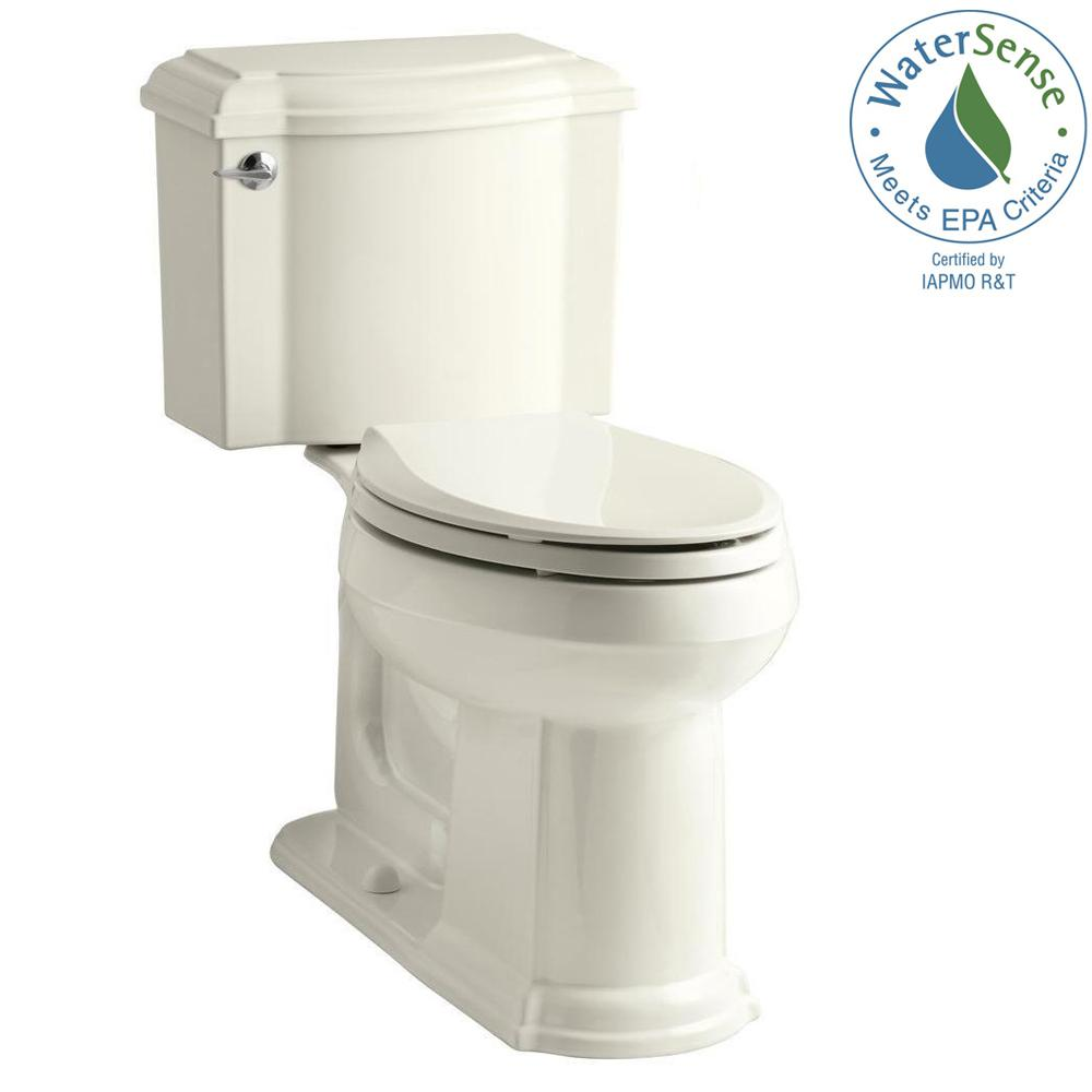 KOHLER Devonshire 2-piece 1.28 GPF Elongated Toilet with AquaPiston Flush Technology in Biscuit