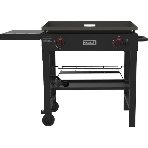 2-Burner Propane Gas Grill in Black with Griddle Top