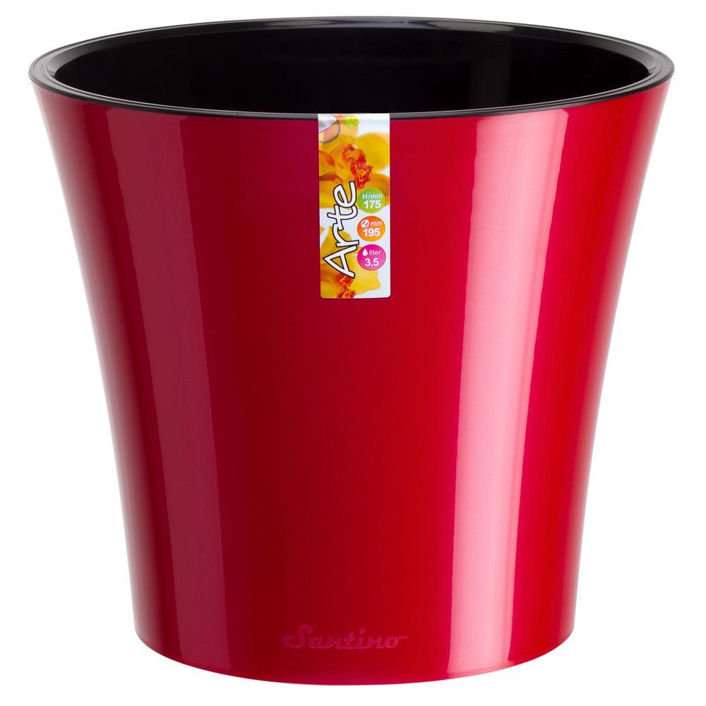 Arte 8.6 in. Red-Pearl/Black Plastic Self Watering Planter