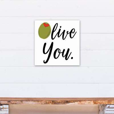 """16 in. x 16 in. """"Olive You Martini"""" Printed Canvas Wall Art"""