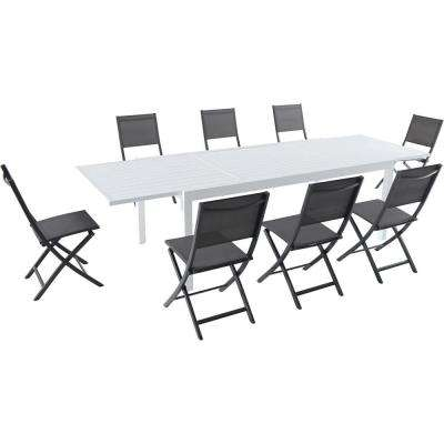 Palermo 9-Piece Aluminum Outdoor Dining Set with 8-Folding-Sling Chairs in Gray White 40 in. x 118 in. Expandable Table