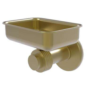 Mercury Collection Wall Mounted Soap Dish with Groovy Accents in Satin Brass